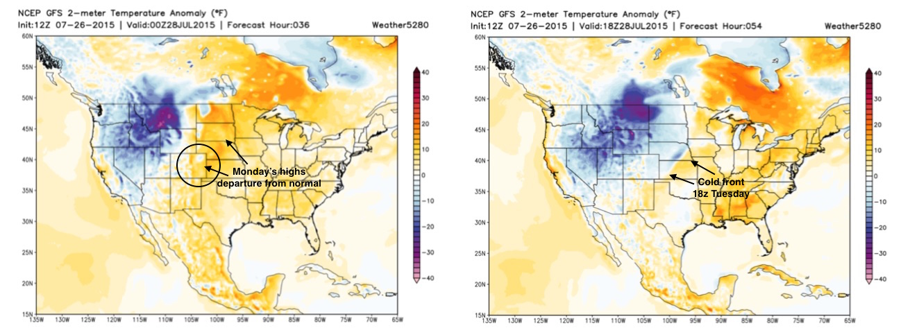 GFS temperature anomaly forecast for Monday and 18z Tuesday