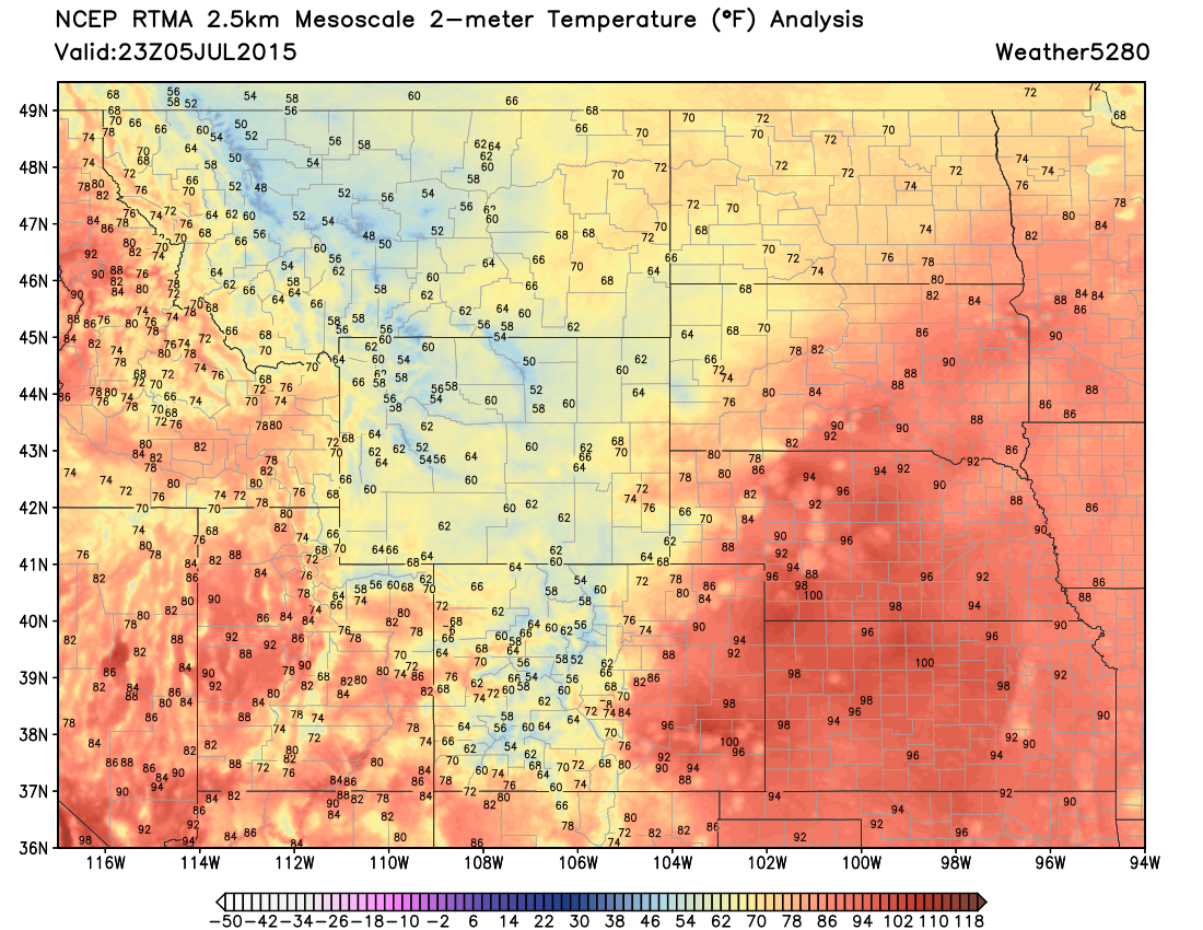 23z surface temperature analysis Sunday   Weather5280 Models