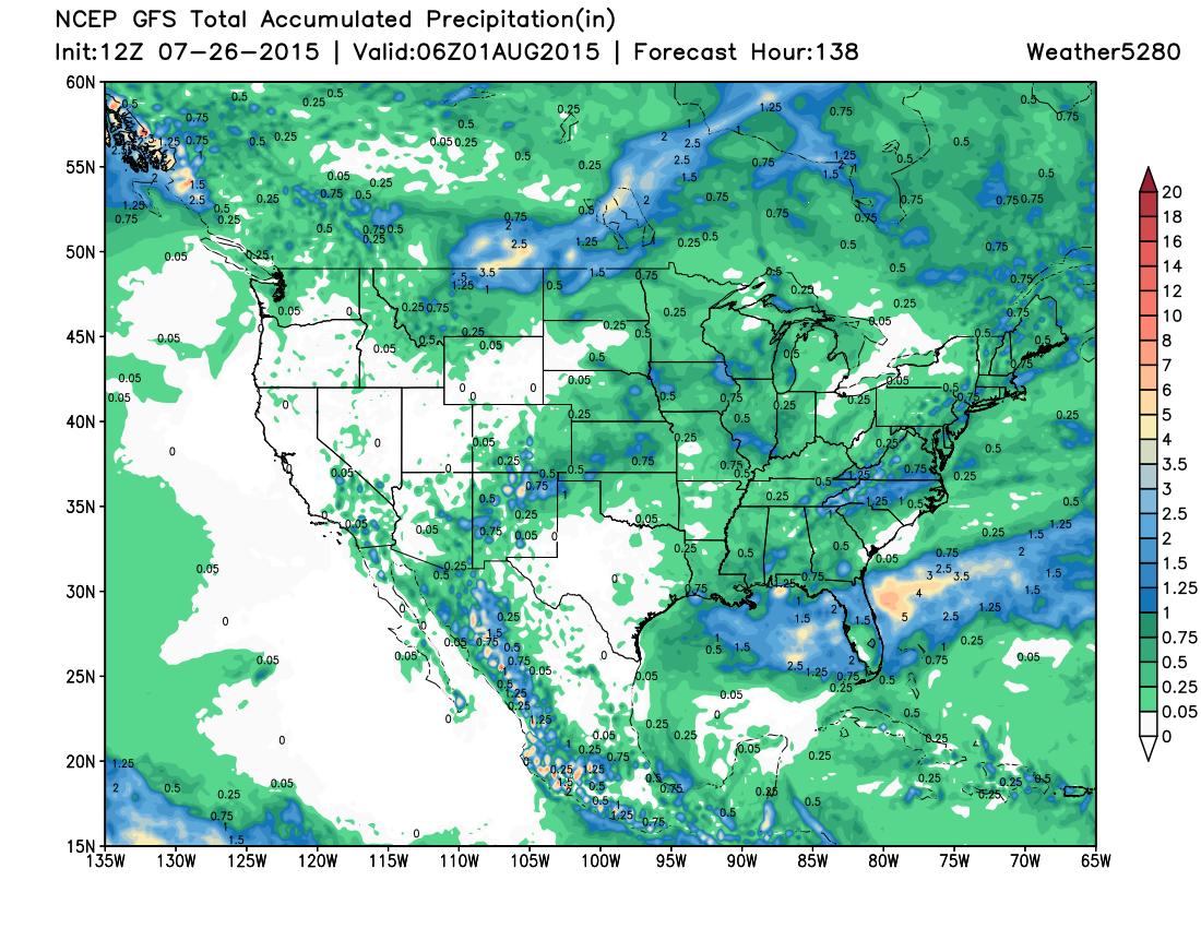12z GFS precipitation forecast through Friday
