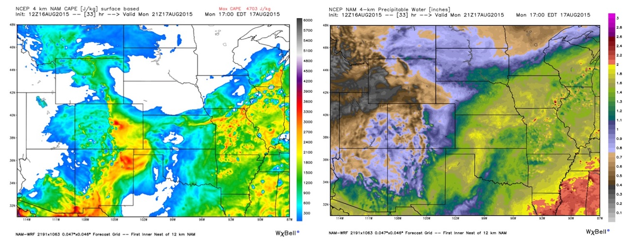 NAM 4km CAPE (left) and PWAT (right) Monday | WeatherBell Analytics