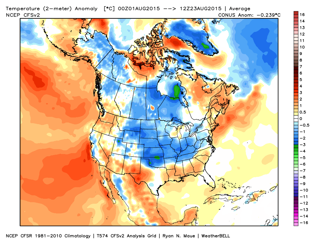Month to date temperature departures from normal   WeatherBell Analytics