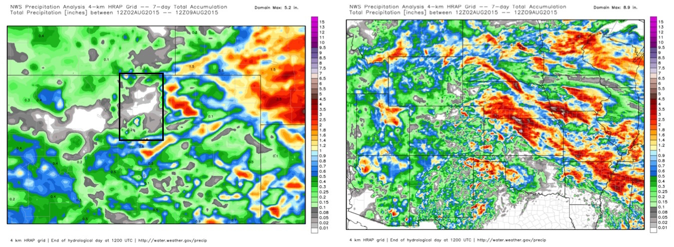 Seven day precipitation totals NE Colorado (left) with black box highlighting northern Front Range, U.S. central (right) | WeatherBell Analytics