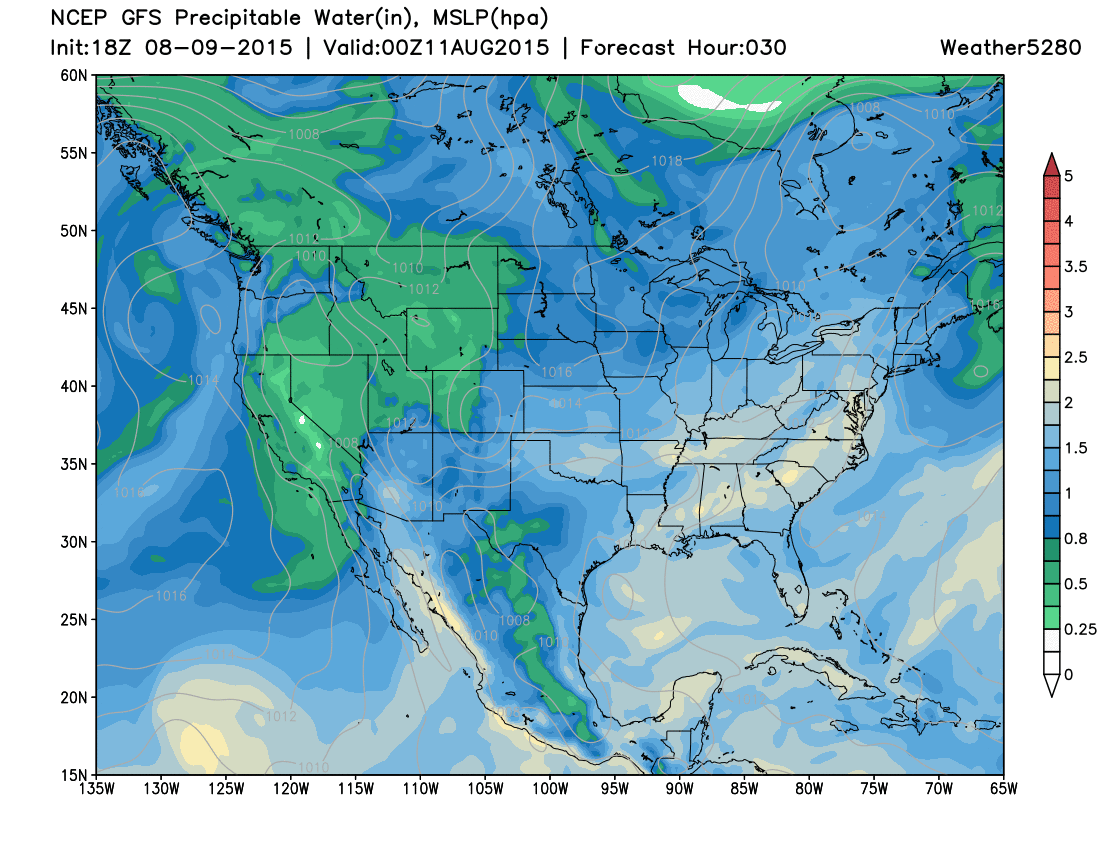 PWAT values forecast for Monday evening | Weather5280 Models