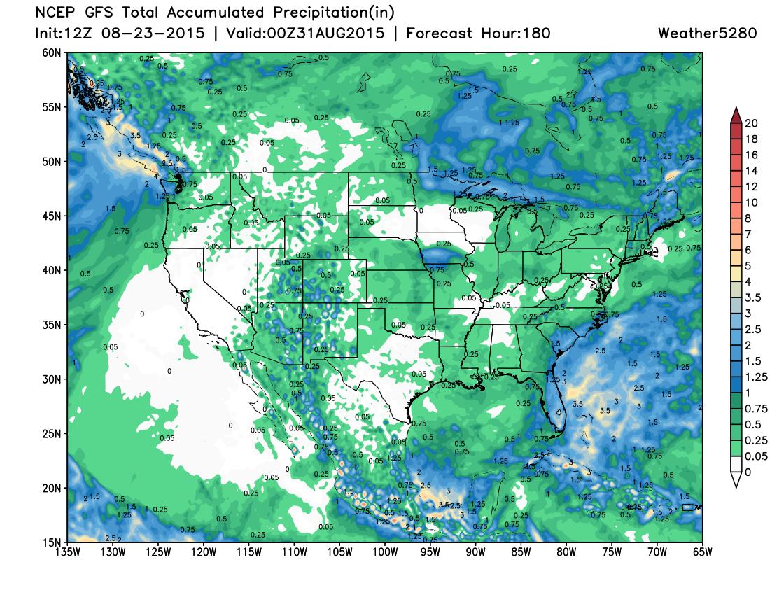 GFS precipitation forecast through next weekend   Weather5820 Models