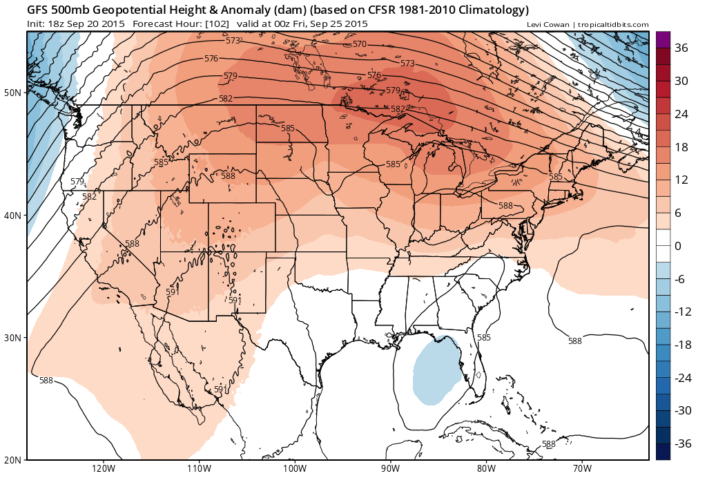 18Z GFS 500mb Height Anomalies | Tropical Tidbits