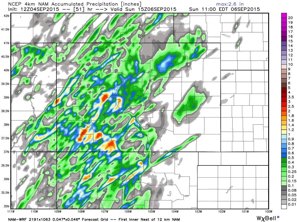 4km NAM precipitation forecast through Saturday night