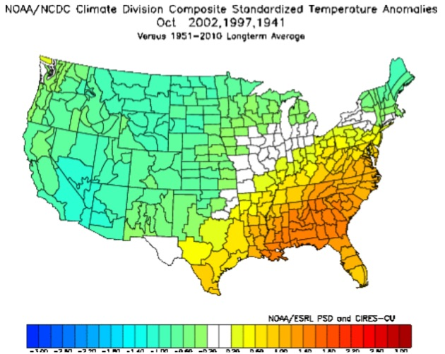 NOAA/NCDC divisional climate data | Temperatures
