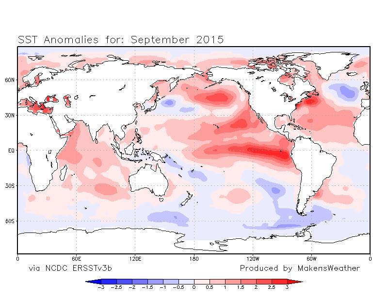 SST Temperatures in September 2015