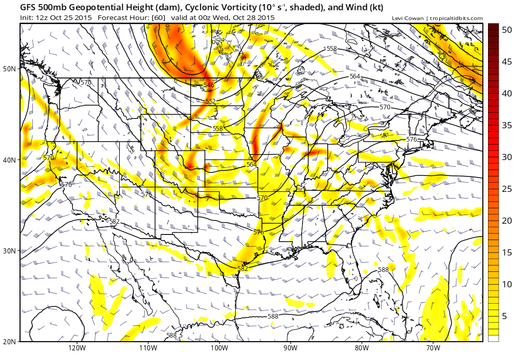 12Z GFS Forecast 500 mb absolute vorticity 18Z 10/27/2015| Tropical Tidbits