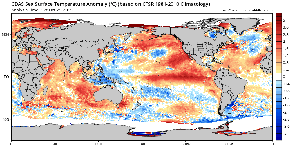 SST Anomalies 12Z October 25|Tropical Tidbits