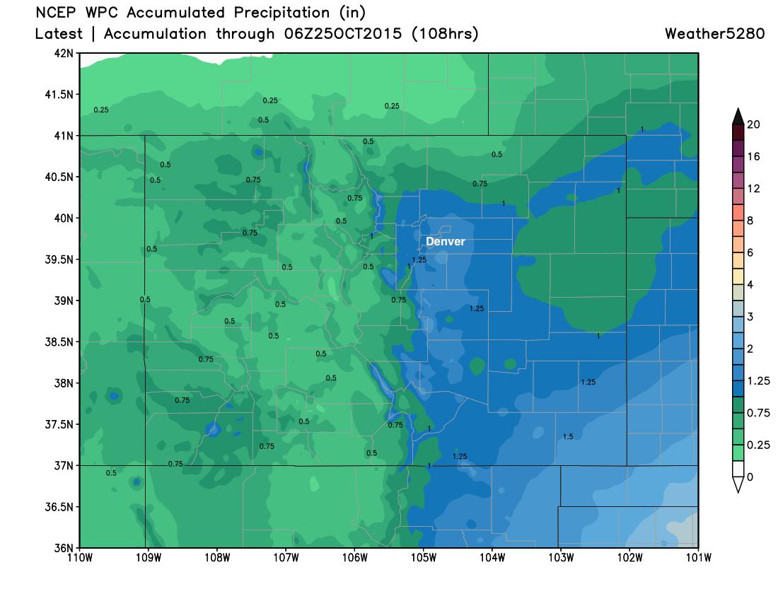 WPC precipitation forecast for Colorado through Saturday | Weather5820 Models