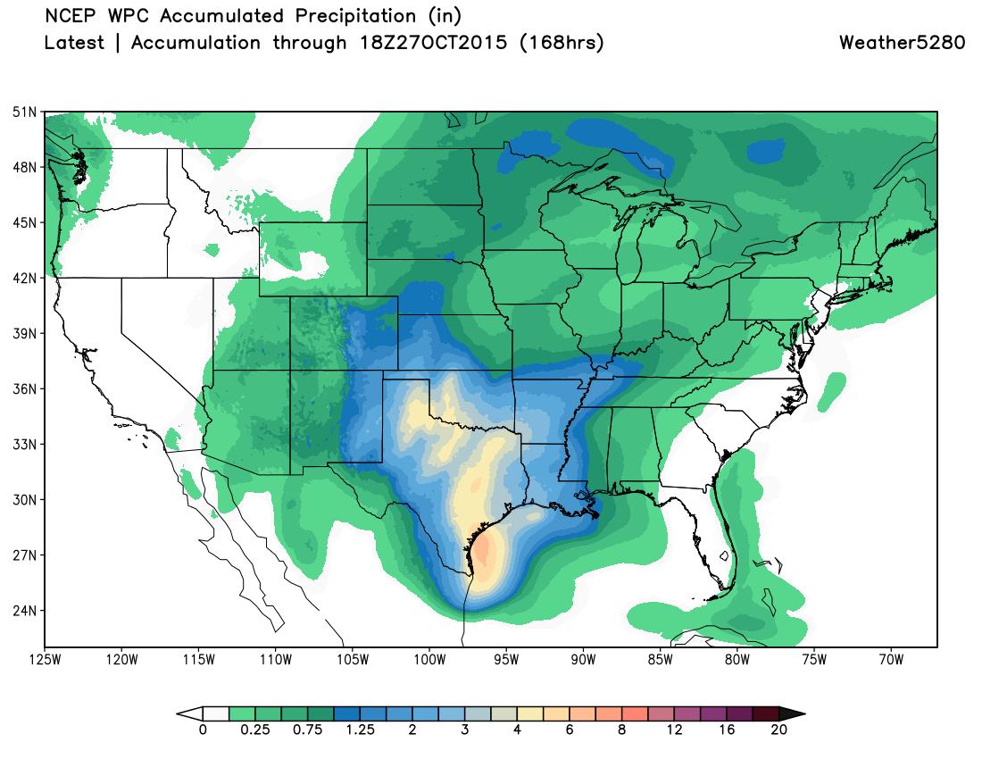 WPC precipitation forecast through 168 hours for CONUS | Weather5280 Models