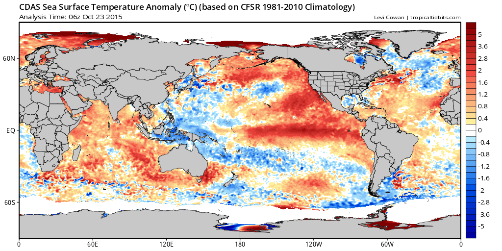 Very warm water in the eastern Pacific helping to fuel hurricane Patricia | Tropical Tidbits