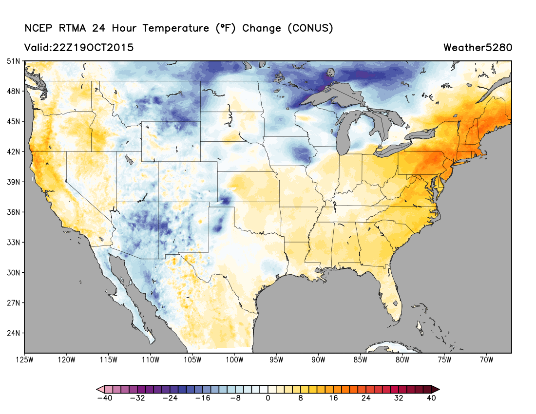 Tuesday afternoon RTMA analysis, much cooler air working into the region as compared to 24 hours ago | Weather5280 Models
