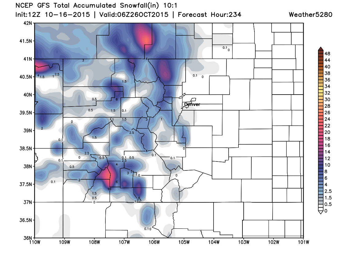 GFS Snowfall forecast   Weather5280 Models