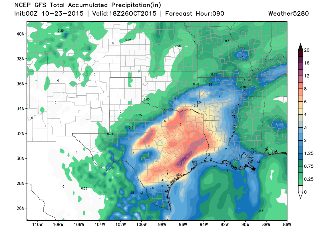 Rainfall forecast for Texas | Weather5280 Models