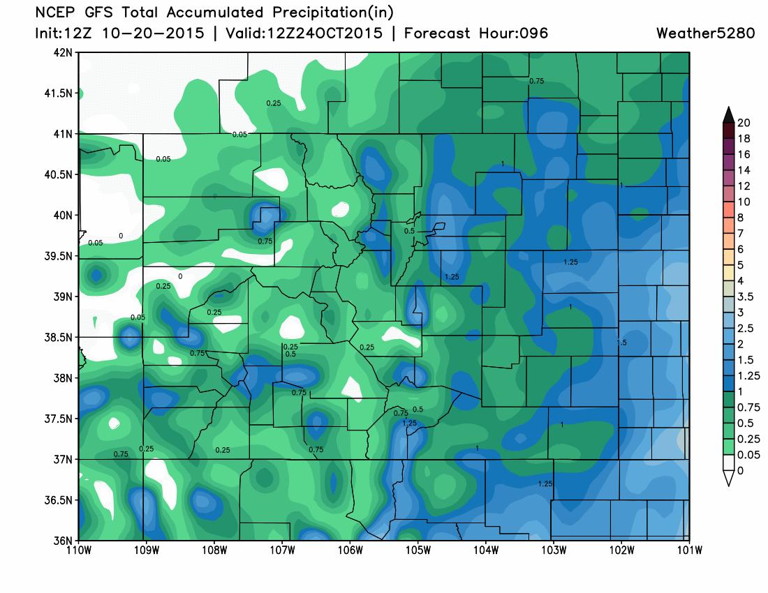 GFS precipitation forecast | Weather5280 Models