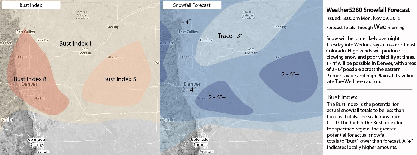 Weather5280 snowfall forecast issued Monday, Nov 9, 2015