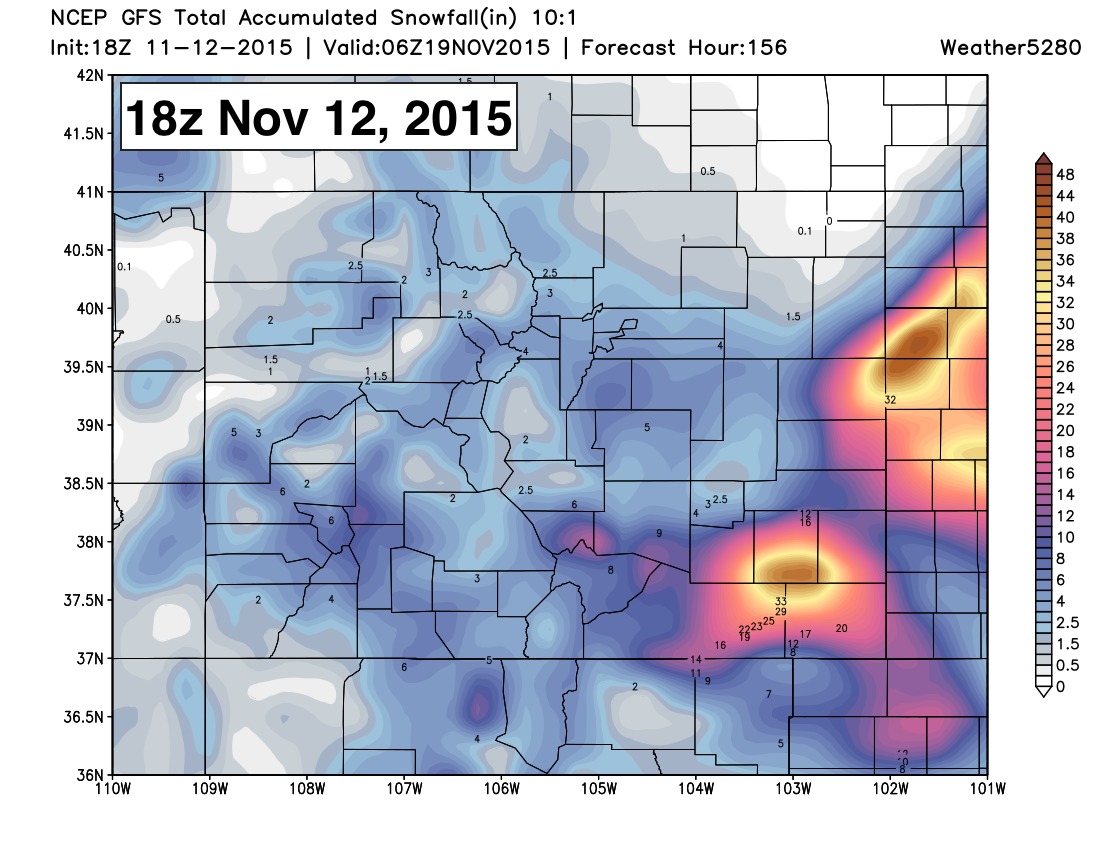 GFS snowfall forecast EXAMPLE | Weather5280 Models