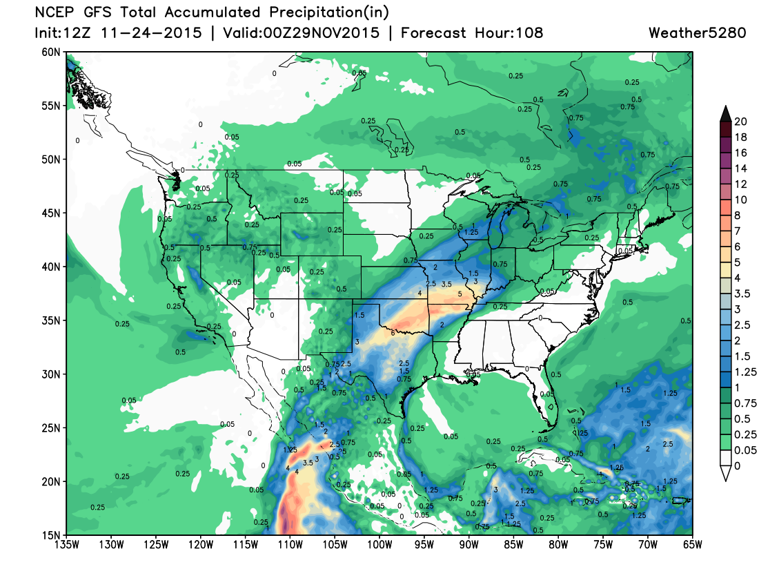 Thanksgiving rainfall forecast | Weather5280 Models