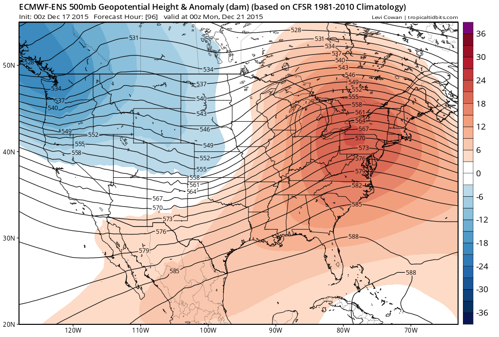 Pattern for the next week: troughing in the west, ridge in the east | Tropical Tidbits