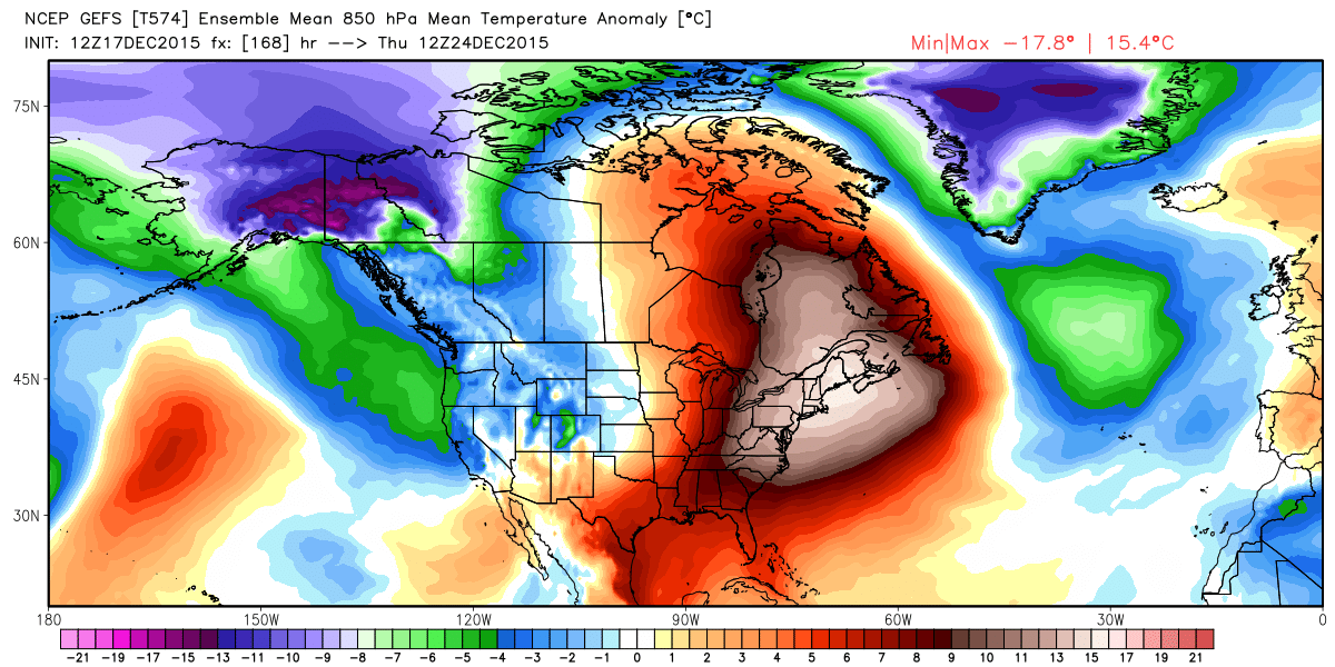 GEFS forecast temperature anomalies Christmas Eve | WeatherBell Analytics