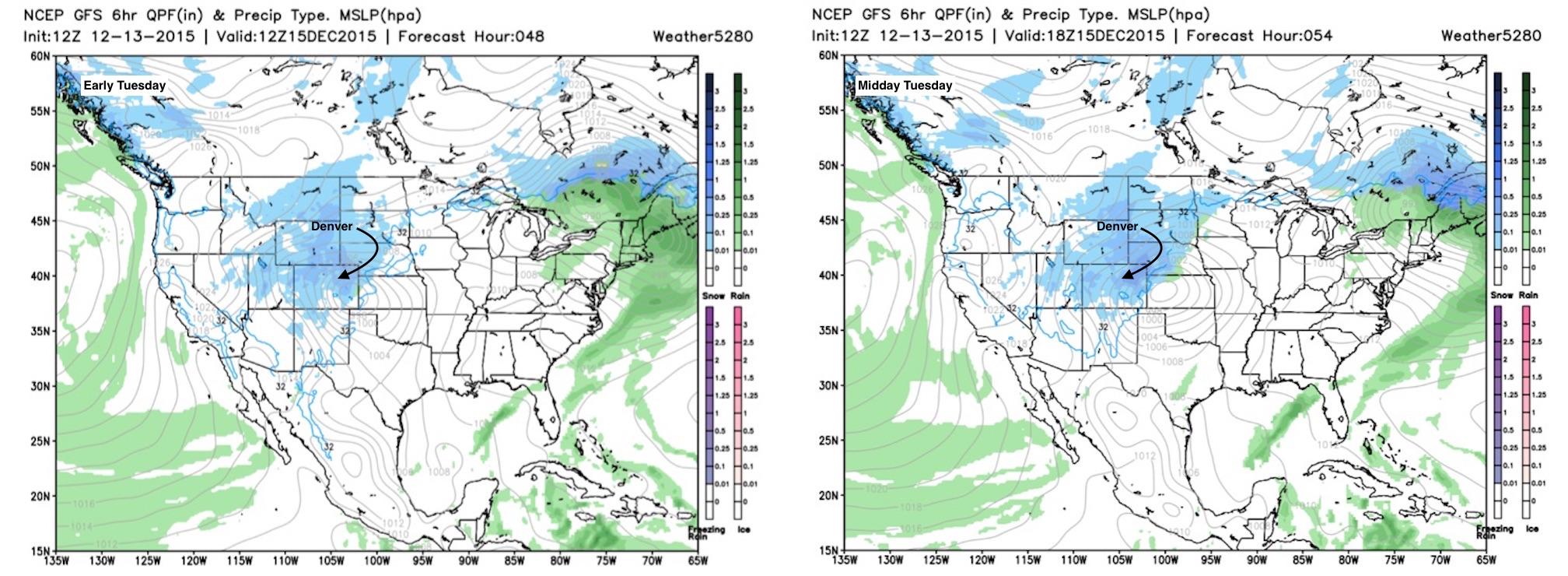 GFS precip + MSLP forecast | Weather5280 Models