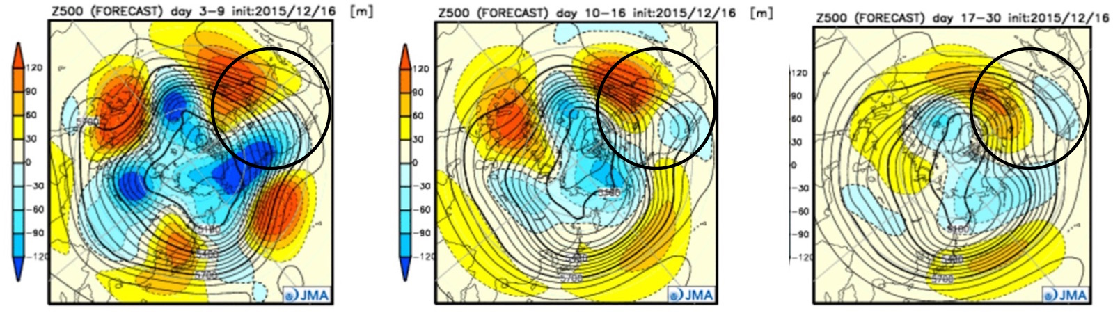 JMA 500mb forecast | Days 3 - 9 (left), days 10 -16 (middle), days 17 - 30 (right), all hold on to the eastern ridge