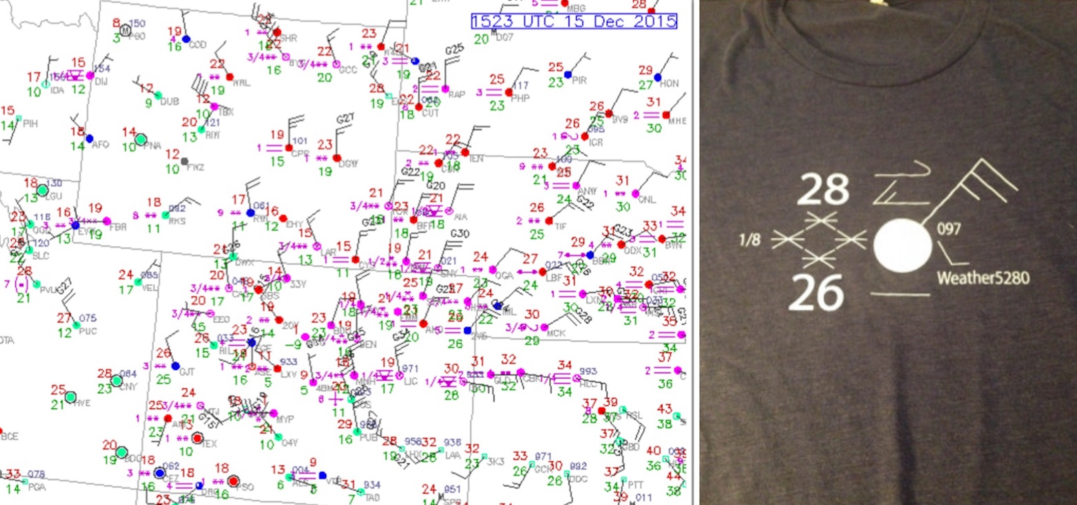 Tuesday morning surface obs across northeast Colorado looking a lot like the Weather5280 shirts!