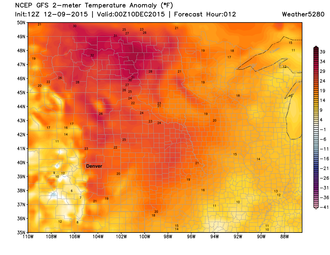 Forecast temperature departures from normal across the north-central United States on Wednesday   Weather5280 Models