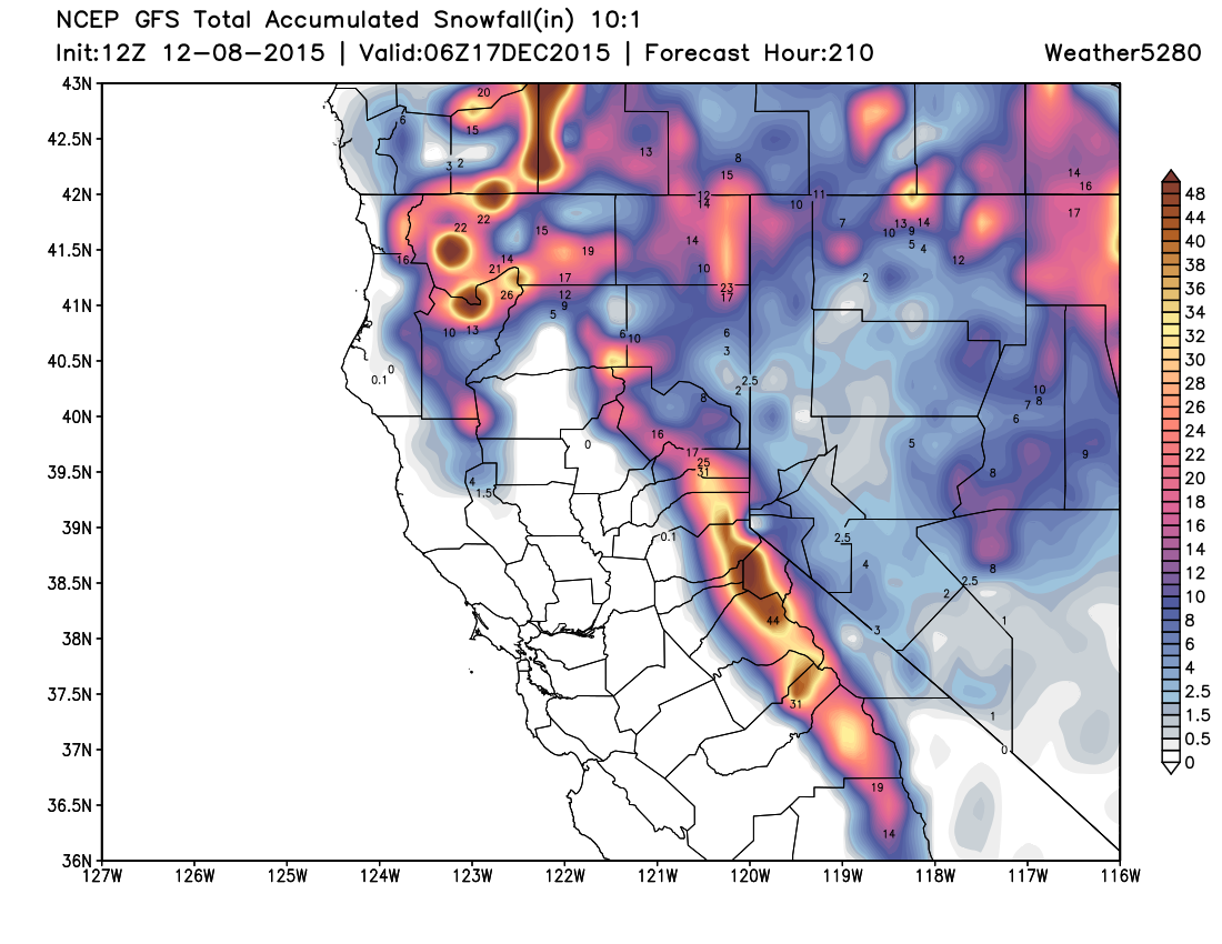 GFS snowfall forecast for northern California | Weather5280 Models