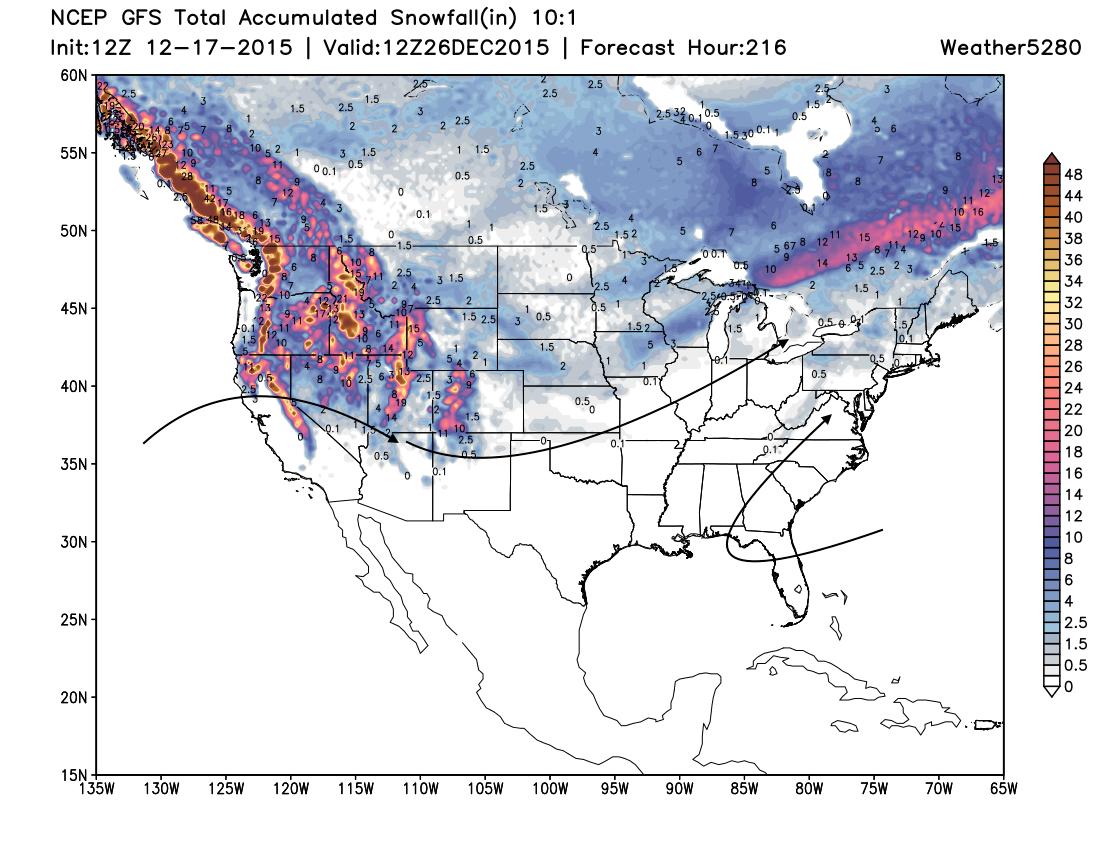 GFS snowfall forecast through Christmas day | Weather5280 Models
