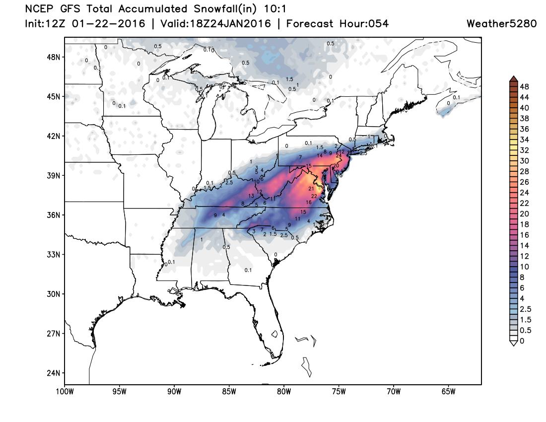 GFS northeast blizzard snowfall forecast | Weather5280 Models