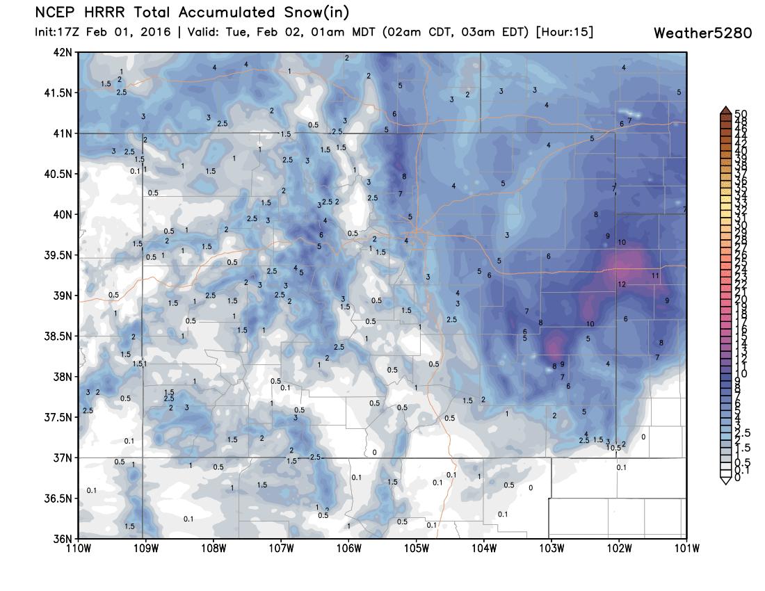 HRRR snowfall forecast through midnight   Weather5280 Models