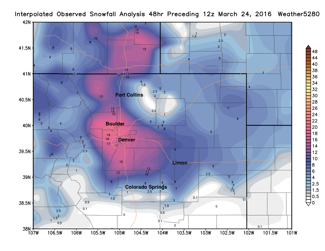 Northeast Colorado blizzard March 2016 | Weather5280 Models