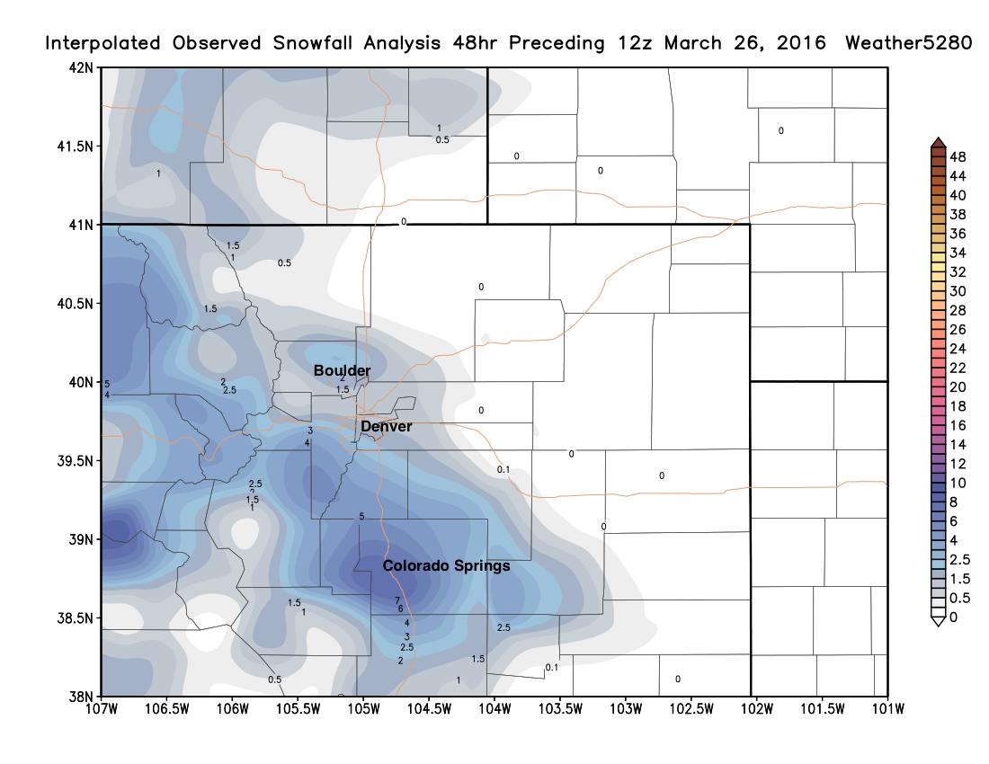 Snowfall totals as of Saturday morning across northeast Colorado