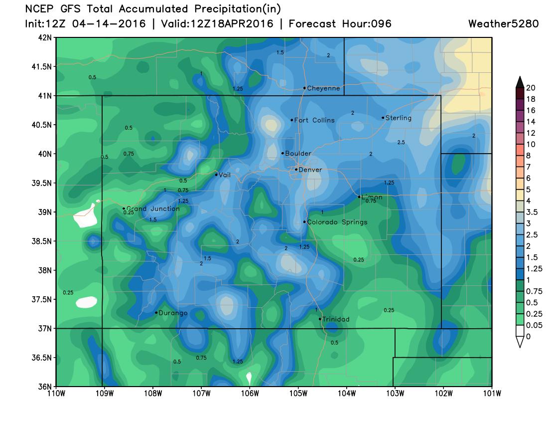 GFS precipitation forecast for Colorado   Weather5280 Models