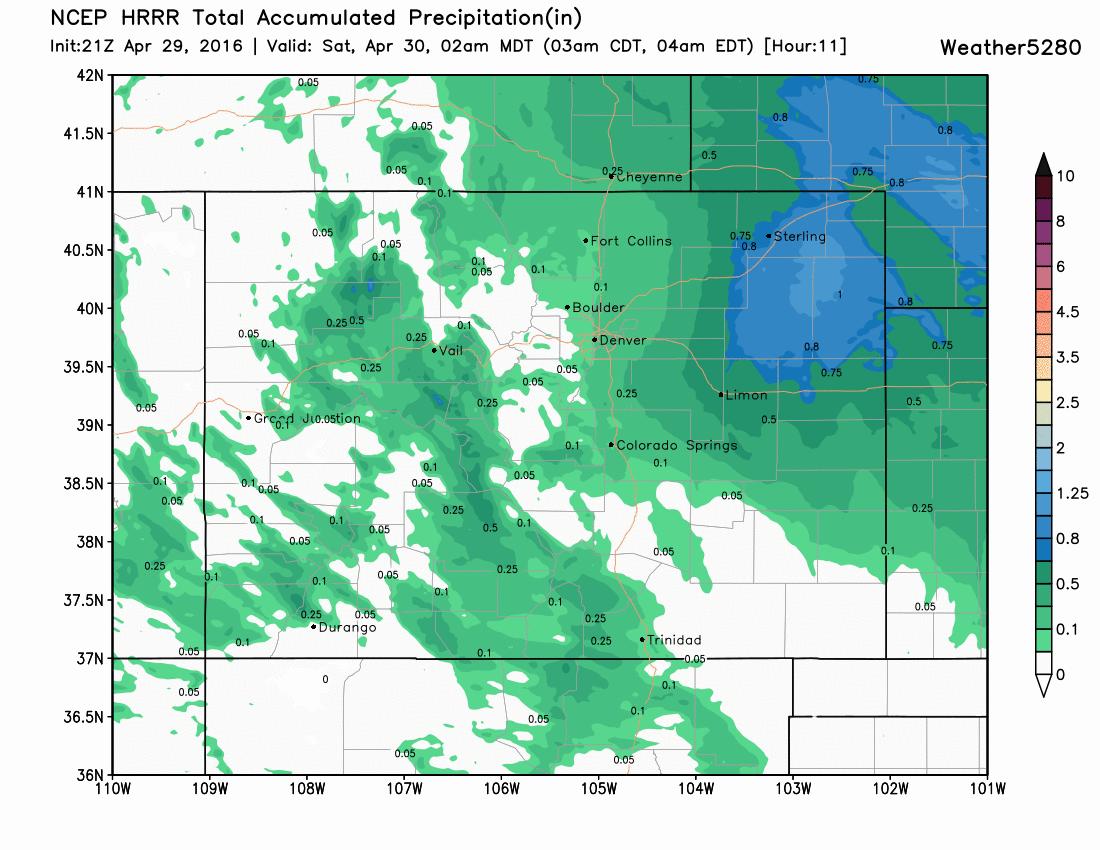 HRRR precipitation forecast through 2am