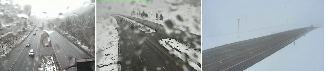 I-70 west of Denver left, I-25 near Larkspur center, I-70 west of Limon right)