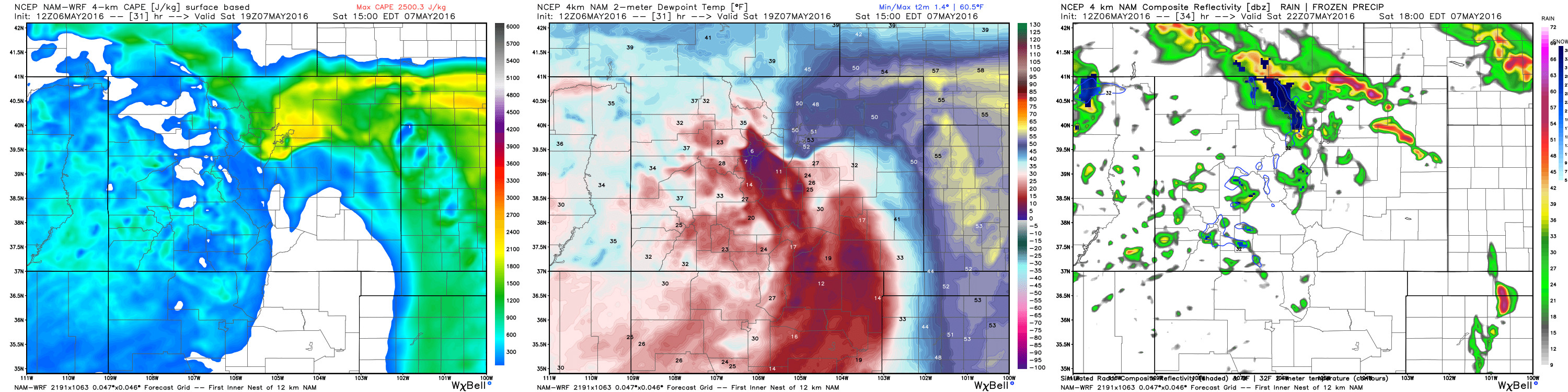 4km NAM showing CAPE >1300 (left) dews in the 50s (center) and forecast simulated radar (right) Saturday afternoon across northeast Colorado | WeatherBell Analytics