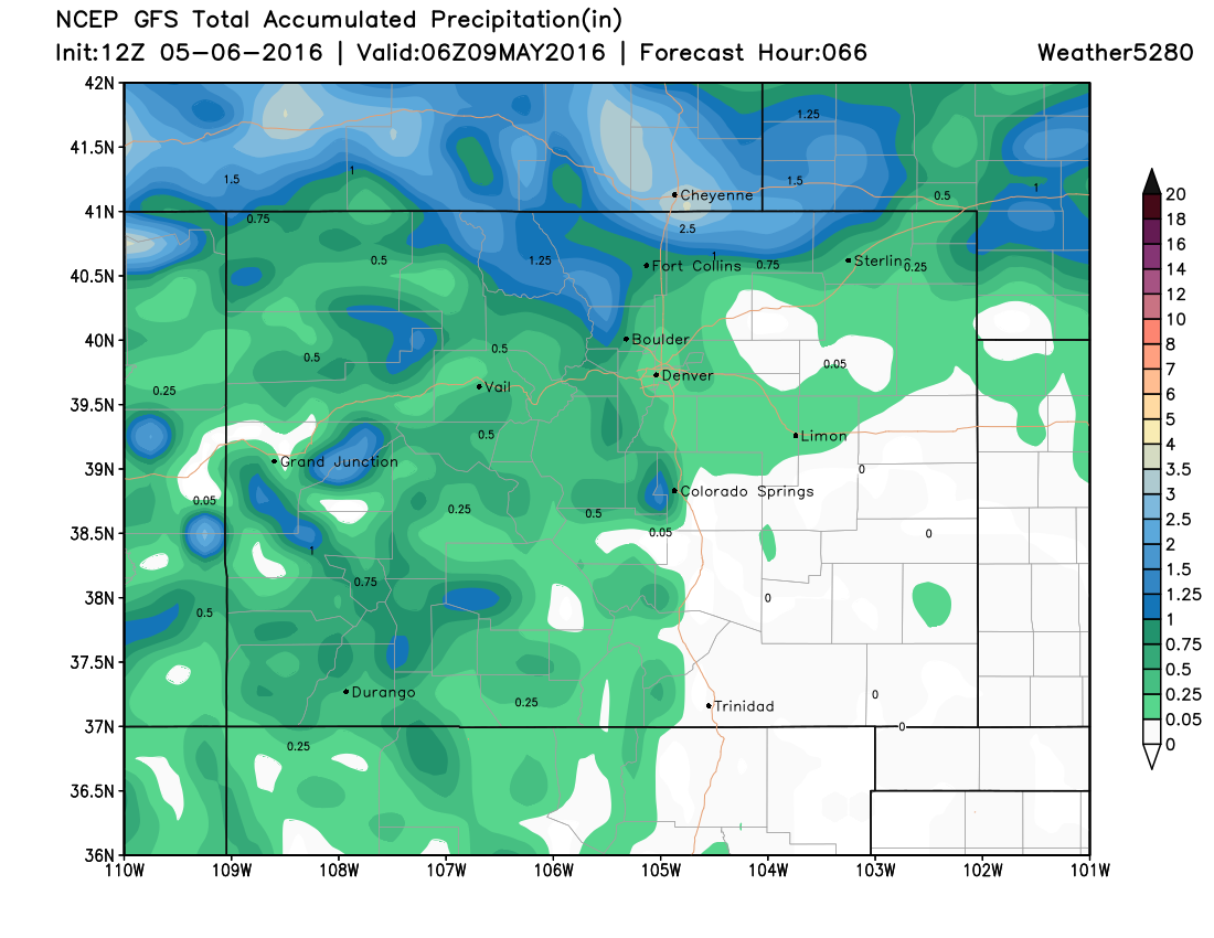 GFS weekend precipitation forecast, greatest totals north of Denver | Weather5820 Models