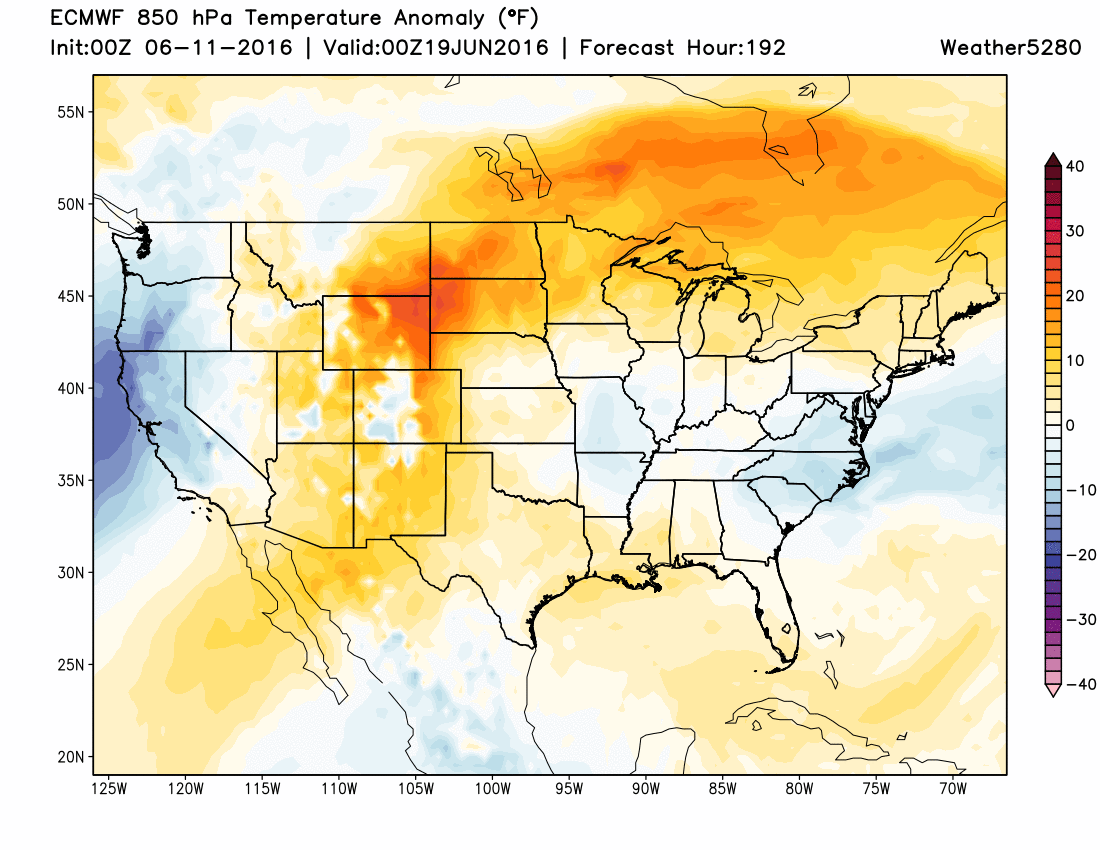 ECWMF 850 temperature anomalies next weekend | Weather5280 Models