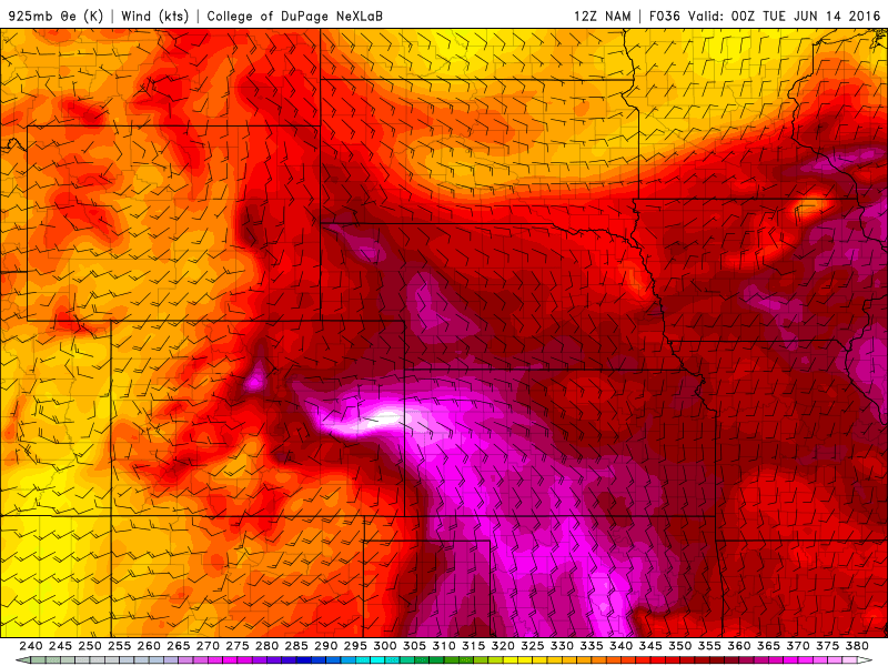12Z 925 mb theta-e for 00Z Tuesday|Source: COD Weather