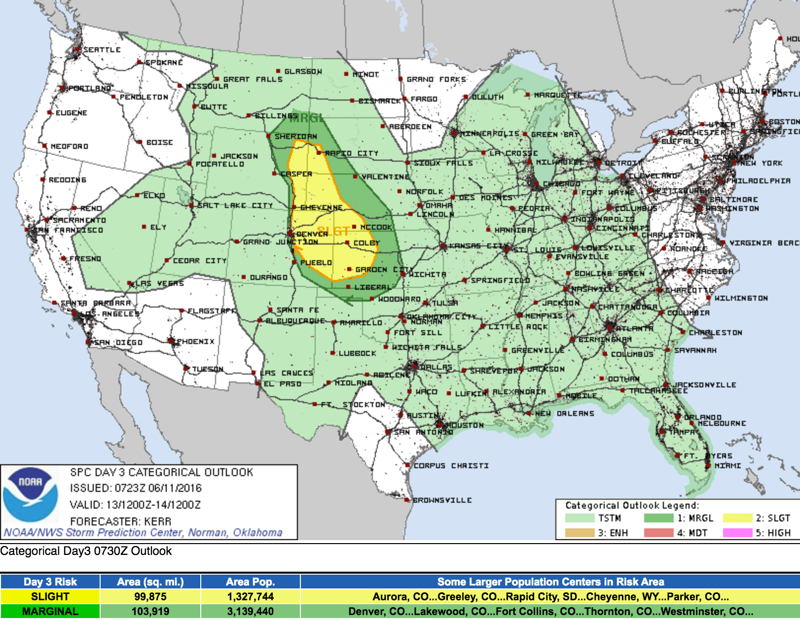 SPC severe weather outlook for Monday, June 13, 2016
