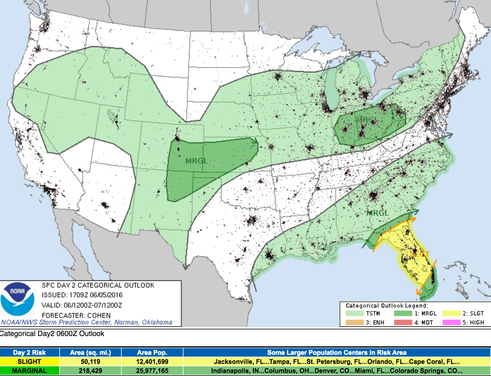 Monday severe weather outlook via the SPC