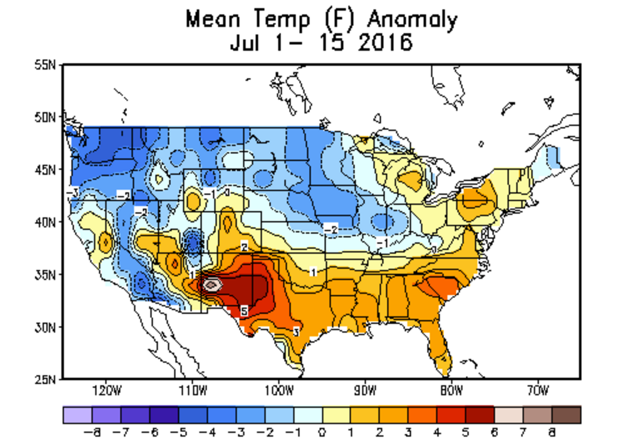 CPC month to date temperature anomalies for the United States. Warmer than average for most of central Colorado, with cooler than average temperatures across the northeast plains of the state. Near normal to slightly above normal in Denver.