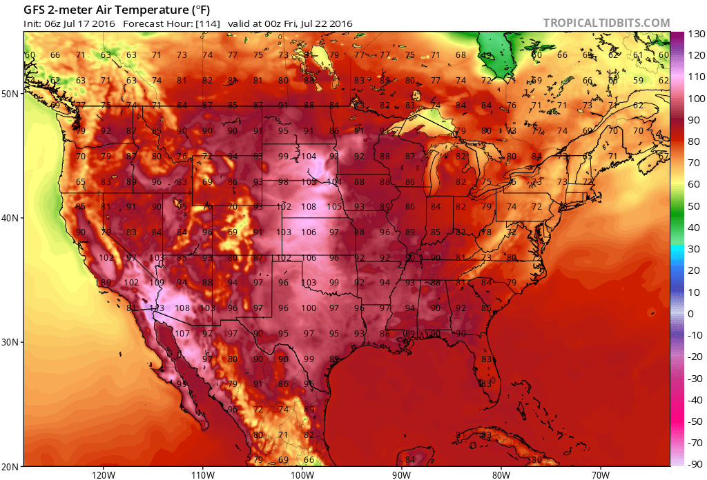 Thursday afternoon forecast 2-meter temperatures | TropicalTidbits