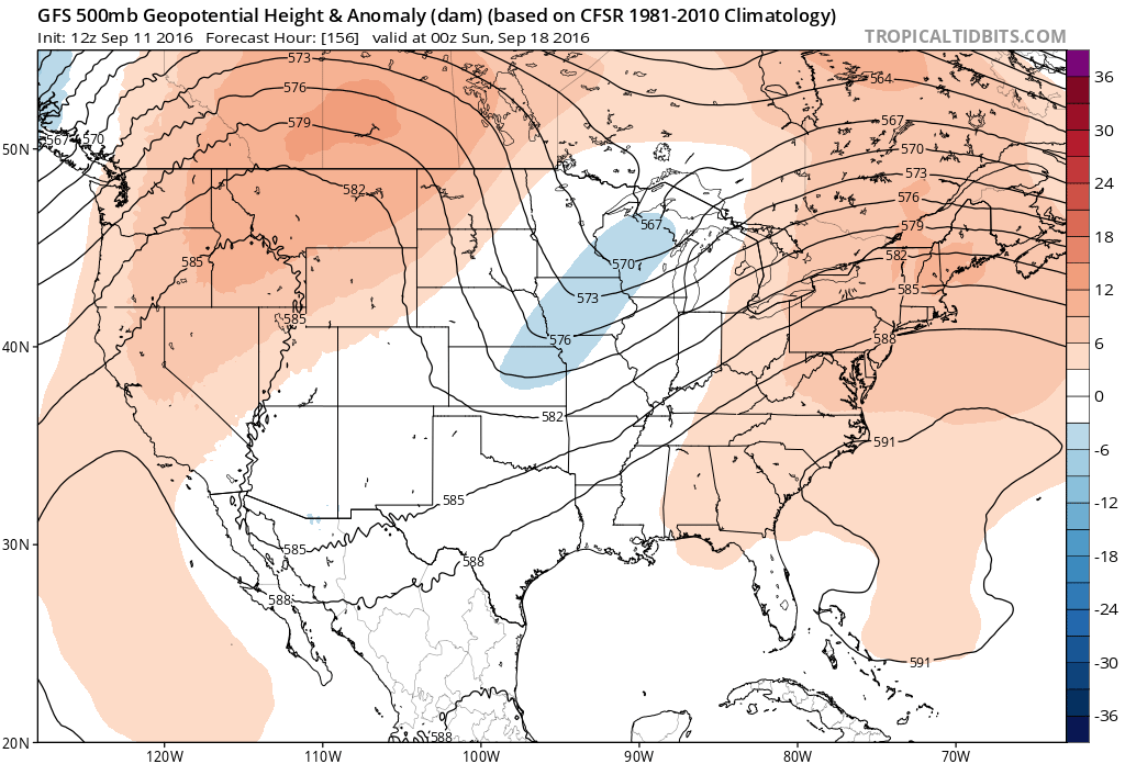 12Z GFS 500 mb heights for 00Z Sunday|Source: Tropical Tidbits