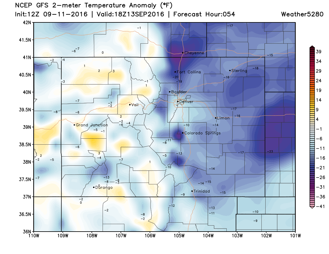 12Z GFS 2m temperature anomalies for 18Z Tuesday|Source:Weather5280