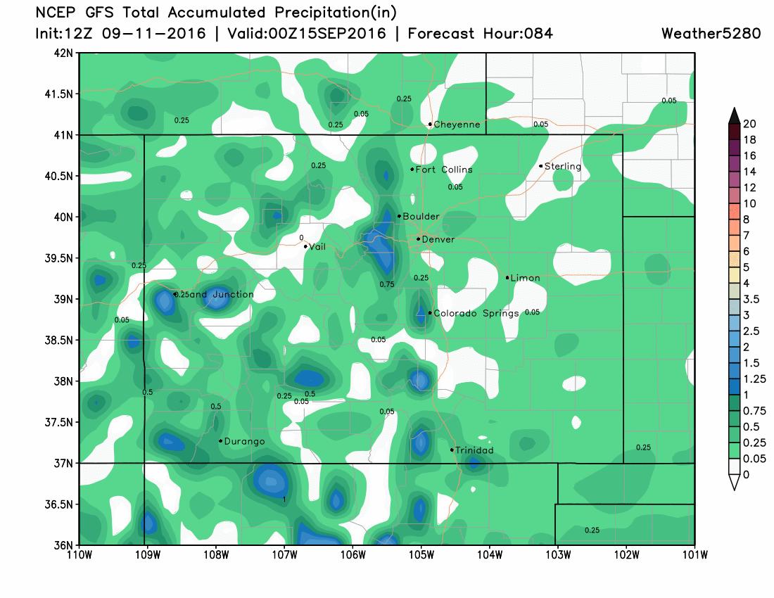 12Z GFS Accumulated Precipitation until 00Z Thursday|Source:Weather5280